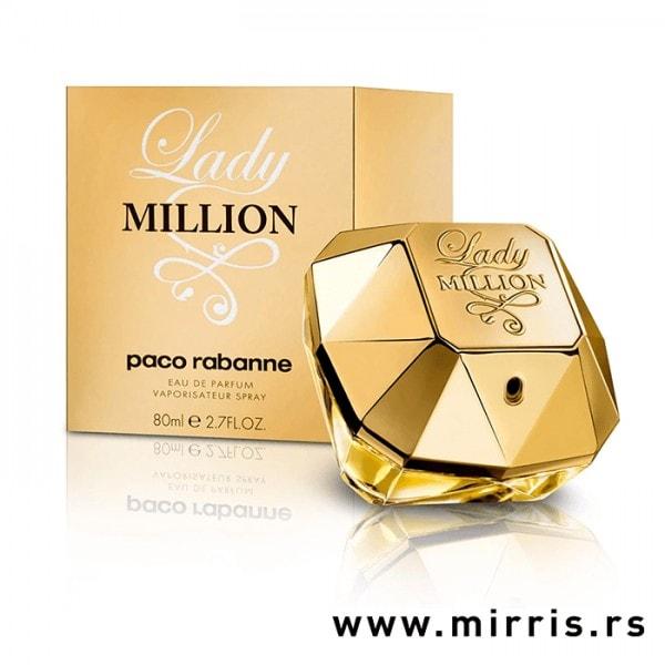 Bočica parfema Paco Rabanne Lady Million zlatne boje i originalna kutija