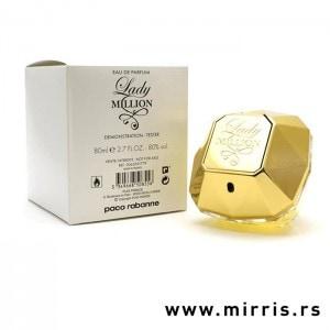 Kutija bele boje i bočica testera Paco Rabanne Lady Million