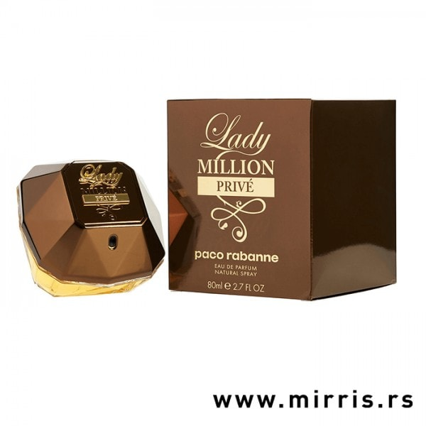 Boca parfema Paco Rabanne Lady Million Prive pored originalne kutije