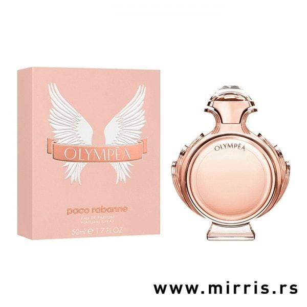 Roze bočica originalnog parfema Paco Rabanne Olympea i kutija roze boje