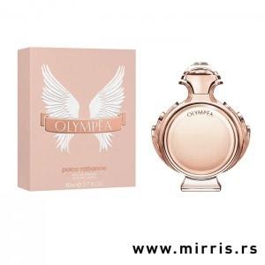 Boca originalnog parfema Paco Raanne Olympea pored kutije roze boje