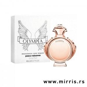 Roze boca testera Paco Rabanne Olympea i kutija bele boje