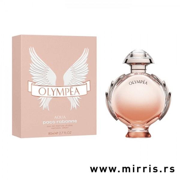 Boca parfema Paco Rabanne Olympea Aqua pored roze kutije