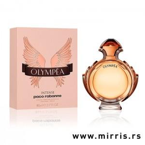 Original bočica parfema Paco Rabanne Olympea Intense pored roze kutije