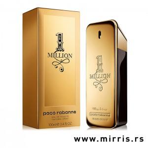 Kutija zlatne boje pored bočice originalnog parfema Paco Rabanne One Million