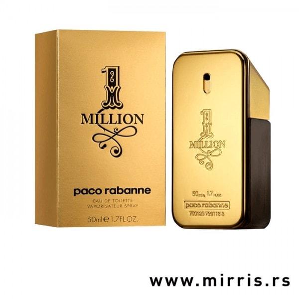 Kutija zlatne boje i boca parfema Paco Rabanne One Million