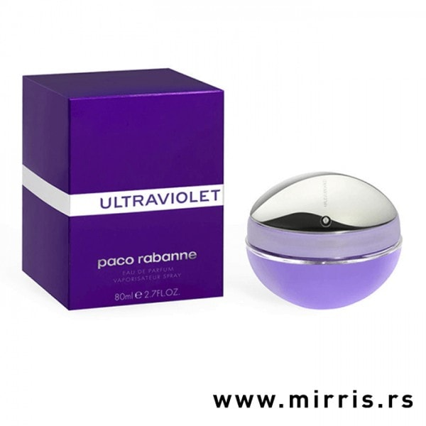Bočica originalnog mirisa Paco Rabanne Ultraviolet pored ljubičaste kutije