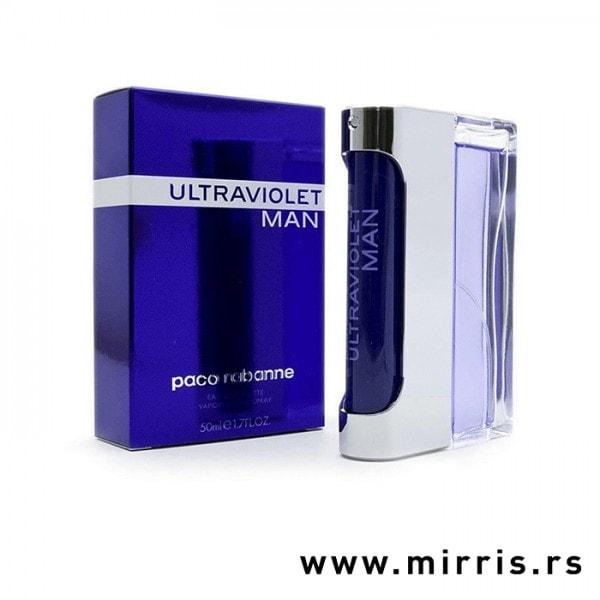 Boca originalnog parfema Paco Rabanne Ultraviolet Man pored ljubičaste kutije