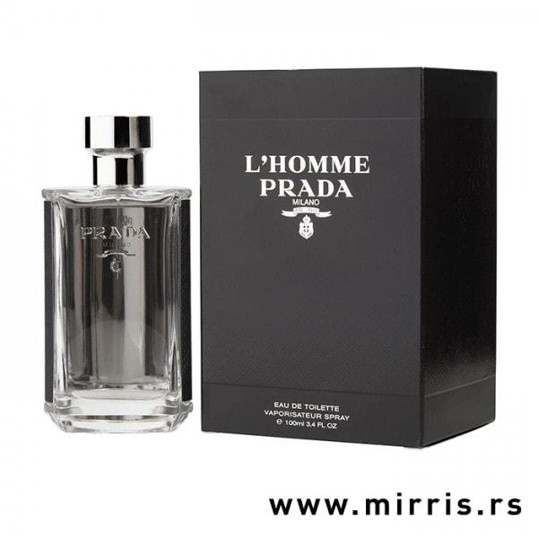 Srebrna flašica originalnog parfema Prada L'Homme pored crne kutije