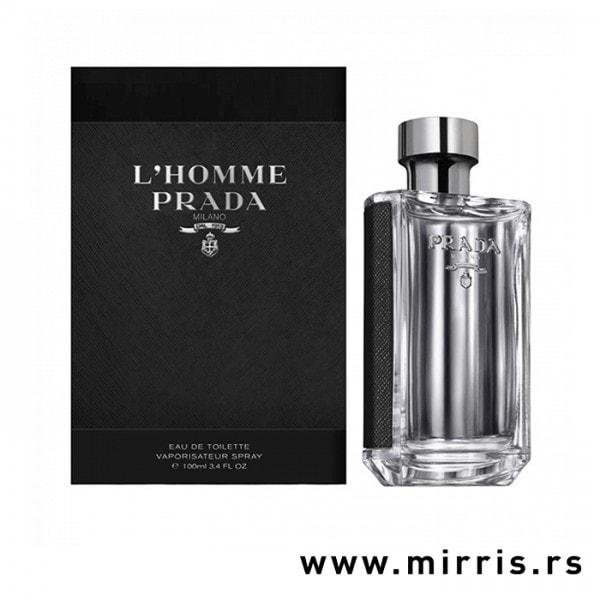 Kutija crne boje i boca parfemaPrada L'Homme