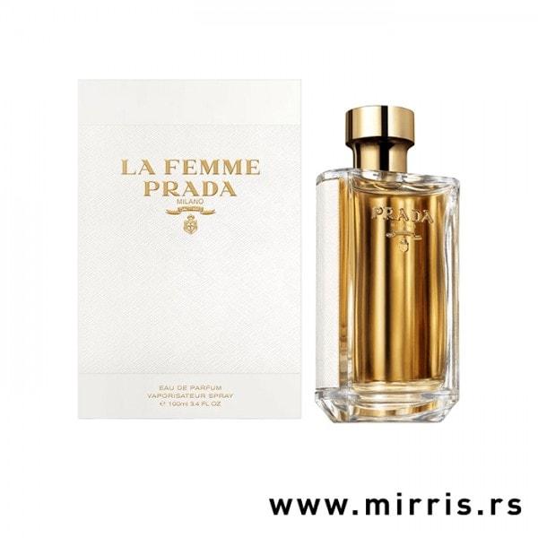 Boca originalnog parfema Prada La Femme i bela kutija