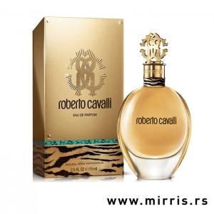 Bočica mirisa Roberto Cavalli zlatne boje pored originalne kutije
