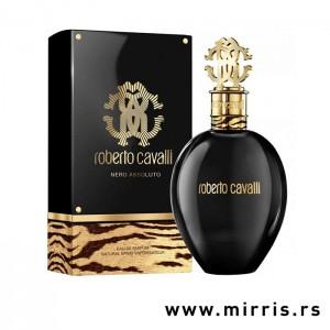 rna boca originalnog parfema Roberto Cavalli Nero Assoluto pored crne kutije