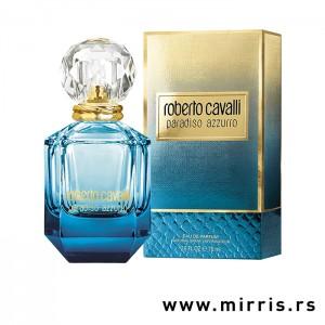 Plafa flašica parfema Roberto Cavalli Paradiso Azzurro pored originalne kutije