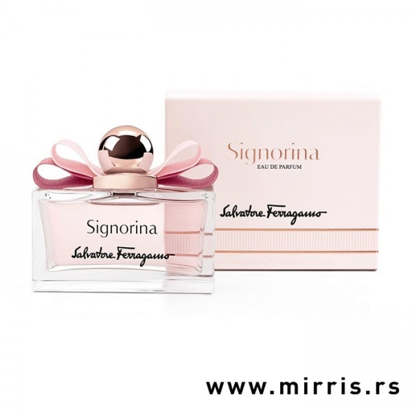 Boca parfema Salvatore Ferragamo Signorina pored kutije roze boje