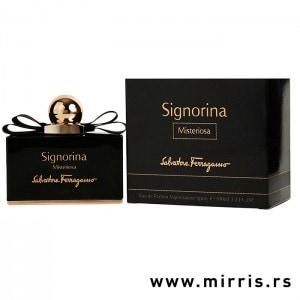 Crna boca original parfema Salvatore Ferragamo Signorina Misteriosa pored crne kutije