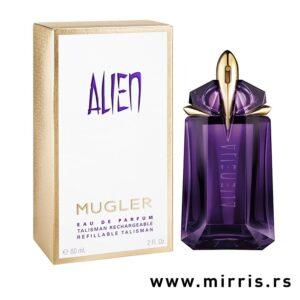 Boca parfema Thierry Mugler Alien pored kutije bele boje