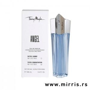 Bela kutija i boca testera Thierry Mugler Angel plave boje