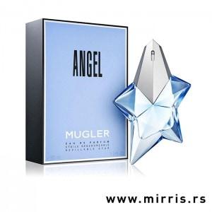 Bočica originalnog mirisa Thierry Mugler Angel pored plave kutije