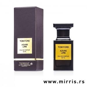 Kutija braon boje i boca originalnog parfema Tom Ford Azure Lime