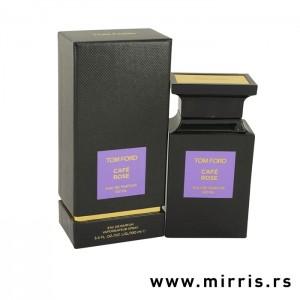 Kutija crne boje i boca originalnog parfema Tom Ford Cafe Rose