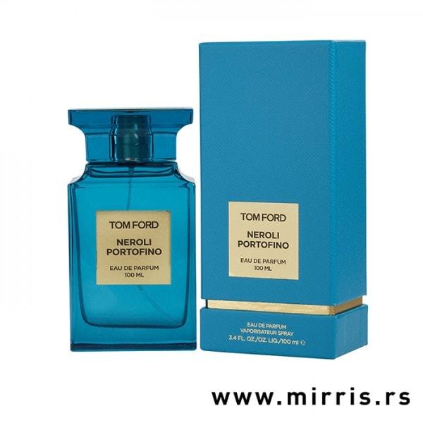 Plava boca parfema Tom Ford Neroli Portofino pored kutije plave boje
