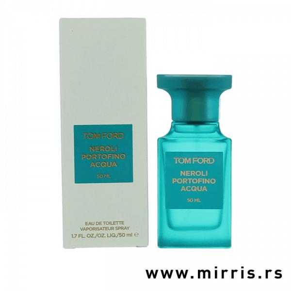 Svetlo plava boca parfema Tom Ford Neroli Portofino Acqua pored originalne kutije