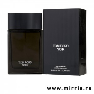 Crna boca parfema Tom Ford Noir pored crne kutije
