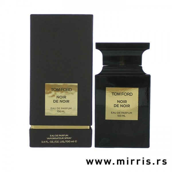 Bočica parfema Tom Ford Noir De Noir pored originalne kutije