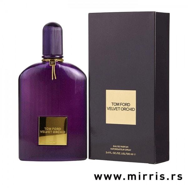 Ljubičasta bočica parfema Tom Ford Velvet Orchid i originalna kutija