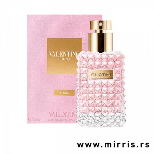 Roze boca parfema Valentino Donna Acqua i original kutija roze boje