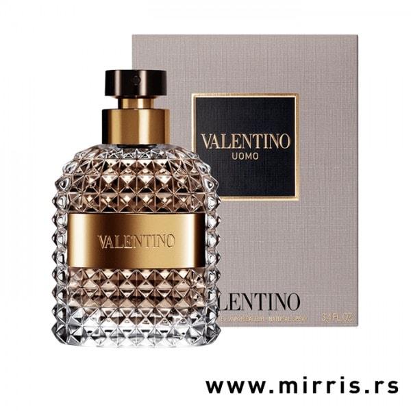 Originalna boca parfema Valentino Uomo pored bele kutije