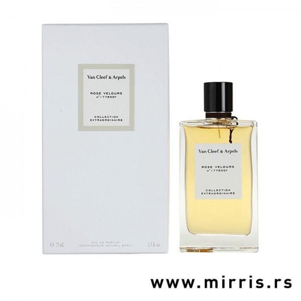 Boca originalnog parfema Van Cleef & Arpels Rose Velours pored bele kutije
