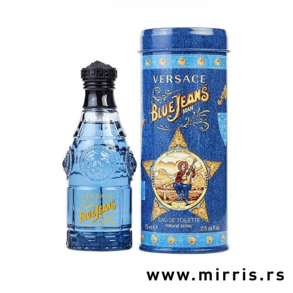 Plava boca parfema Versace Blue Jeans pored originalne kutije