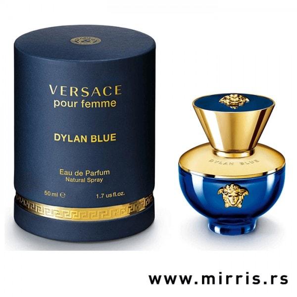 Bočica parfema Versace Dylan Blue Pour Femme pored plave kutije