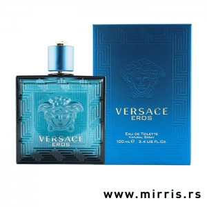 Plava boca parfema Versace Eros pored originalne kutije
