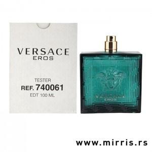 Bočica testera Versace Eros pored bele kutije