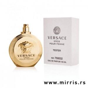 Boca testera Versace Eros Pour Femme pored kutije bele boje