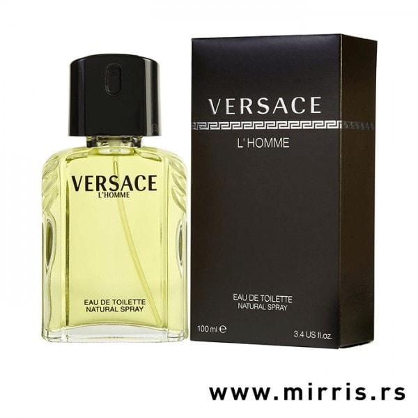 Bočica parfema Versace L'Homme pored originalne kutije
