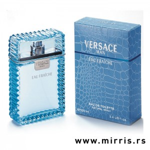 Plava boca parfema Versace Man Eau Fraiche i kutija plave boje