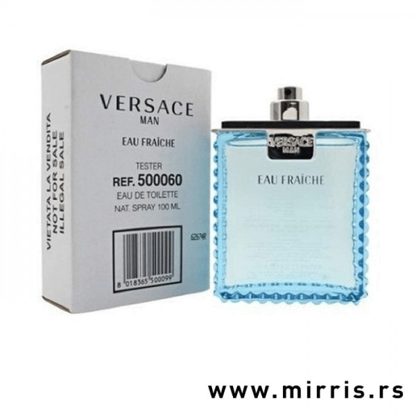 Bela kutija i plava boca testera Versace Man Eau Fraiche