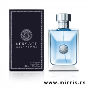 Plava boca mirisa Versace Pour Homme pored originalne kutije