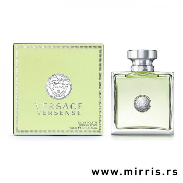 Originalna bočica mirisa Versace Versense pored zelene kutije
