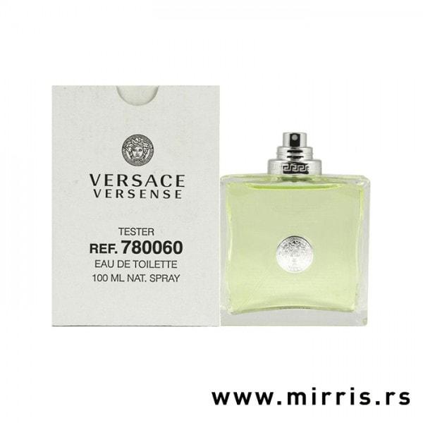 Bela kutija i zelena boca testera Versace Versense