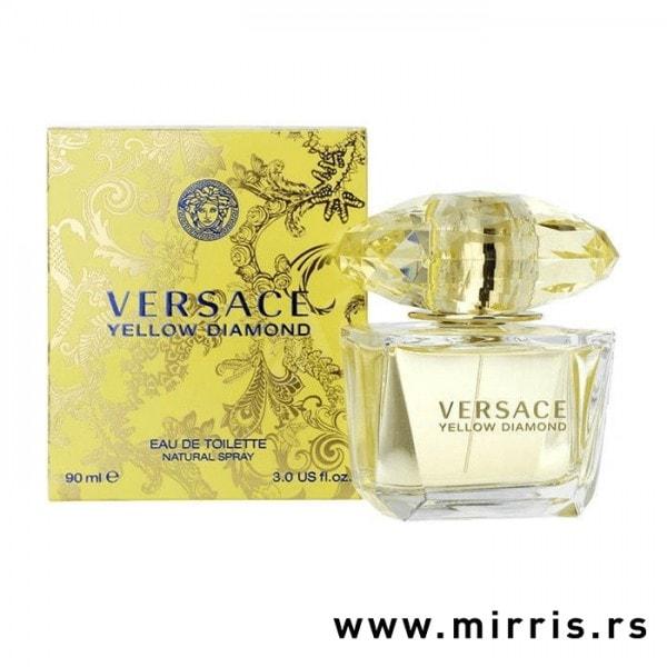 Originalna boca parfema Versace Yellow Diamond pored njegove kutije