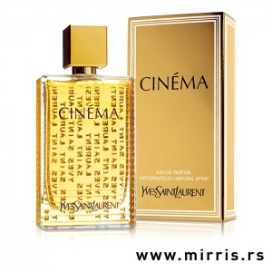 Boca originalnog mirisa Yves Saint Laurent Cinema pored kutije zlatne boje