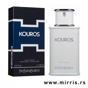 Originalna kutija pored bele boce parfema Yves Saint Laurent Kouros