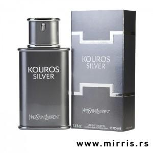 Bočica parfema Yves Saint Laurent Kouros Silver i kutija sive boje