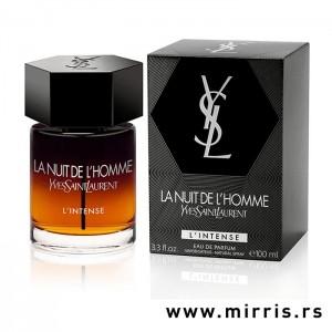 Bočica parfema Yves Saint Laurent La Nuit De L'Homme L'Intense i kutija sive boje