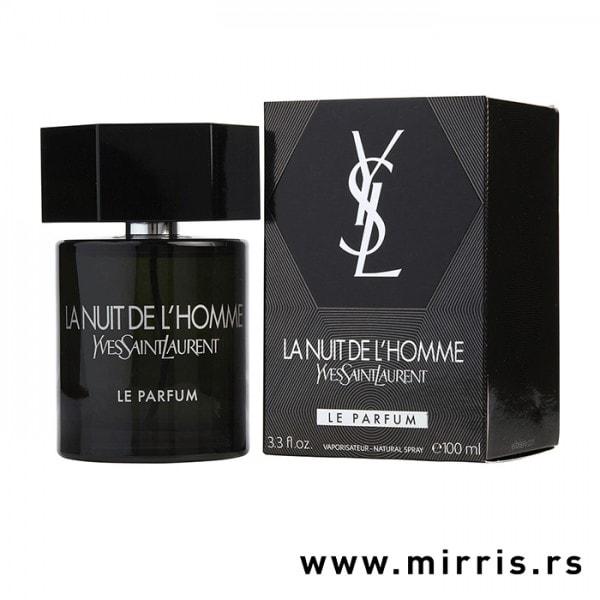 Bočica parfema Yves Saint Laurent La Nuit De L'Homme Le Parfum pored originalne kutije